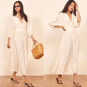 Reformation Melodie Floral Embroidery Ivory Dress